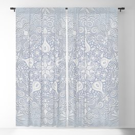 Baroque Garden, White on Blue, Watercolor Ornate Pattern Blackout Curtain