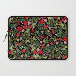 Christmas Floral Black Laptop Sleeve
