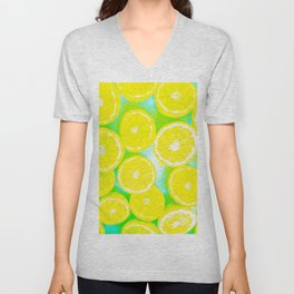 juicy yellow lemon pattern abstract with green background Unisex V-Neck