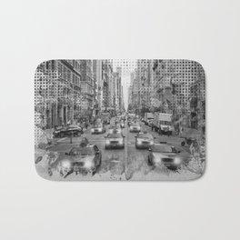 Graphic Art NEW YORK CITY Traffic | Monochrome Bath Mat