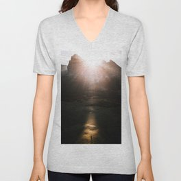 Aerial of a Lone Tree at the Alpe di Siusi Dolomites - Landscape Photography Unisex V-Neck