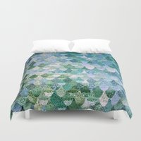 mint Duvet Covers featuring REALLY MERMAID by Monika Strigel