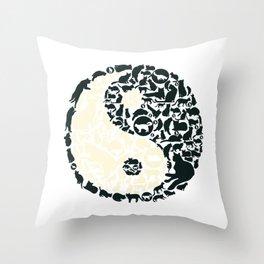 Yin-Yang Cats - FELT Throw Pillow