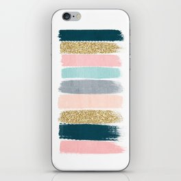 Zara - Brushstroke glitter trendy girly art print and phone case for young trendy girls iPhone Skin