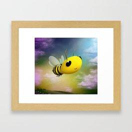 Bee Flying On Colour Sky Framed Art Print