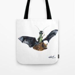 """ Rider in the Night "" happy cricket rides his pet bat Tote Bag"