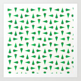 GEOMETRIC XMAS TREES Art Print