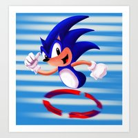 sonic Art Prints featuring Sonic by DROIDMONKEY
