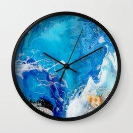 Bright Blue Acrylic Ocean Sea Painting Wall Clock
