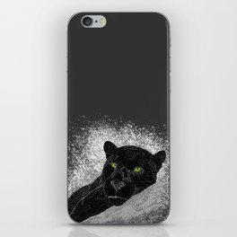 Black panther on a branch - Grey iPhone Skin
