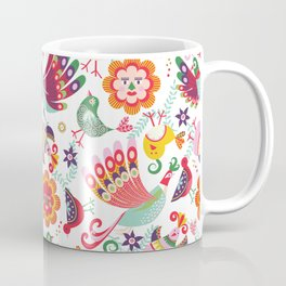 scandinavian folkart birdies | white Coffee Mug