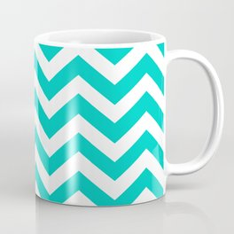 Aqua Chevron Pattern Coffee Mug