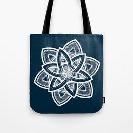 Authentic white mandala on blue Tote Bag