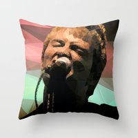 radiohead Throw Pillows featuring Thom Yorke | Radiohead | Creep | Polygon Art by Mirek Kodes