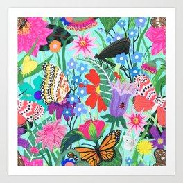 Butterflies and Moths Pattern - Blue Art Print
