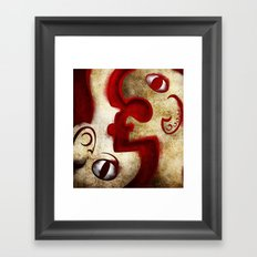 Red Digital Engraving Twin Faces Framed Art Print