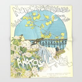 "Théophile Steinlen ""Sheet music: Nuit mystérieuse by Anatole Lancel"" Throw Blanket"
