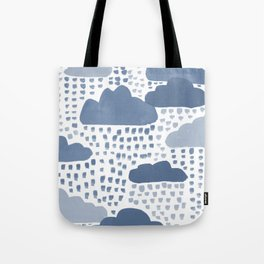 Hand Painted Rain Clouds Shades of Grey Tote Bag