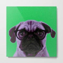 Geek Pug in Green Background Metal Print