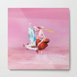 Pink Girls and Fish Metal Print