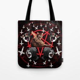 satanic cat pentagram death black metal band exorcist Tote Bag