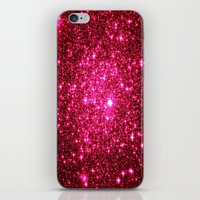 glitter iPhone & iPod Skins featuring Hot Pink Glitter Stars by 2sweet4words Designs