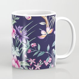 Navy Blue Chinoiserie Asian Floral Print Coffee Mug
