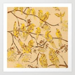 Feathered Friends Batik Art Print