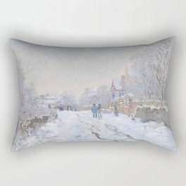 Snow Scene at Argenteuil by Claude Monet Rectangular Pillow