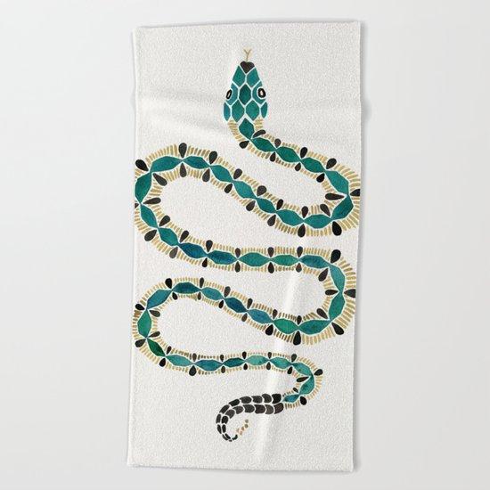 Emerald & Gold Serpent Beach Towel