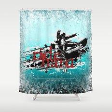 ride hard - snow Shower Curtain