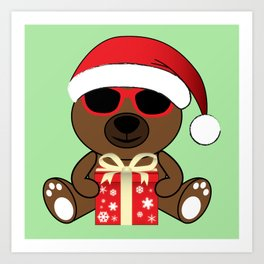 Cool Santa Bear with sunglasses and gift Art Print