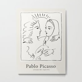 Vintage poster-Pablo Picasso-Linear drawings. Metal Print