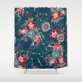 Moody Blue Floral Japanese Morning Glories Shower Curtain