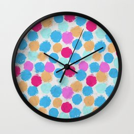 Rainbow Spots Circle Pattern Wall Clock