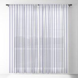 Navy Blue on White Mattress Ticking Stripes Sheer Curtain