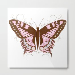 ornate butterfly in pink and earth colors Metal Print