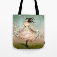 dress Tote Bags featuring Butterfly Dress by Christian Schloe