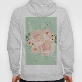 Wild Roses on Pastel Cactus Green Hoody