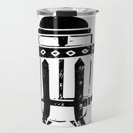 French Press Linocut black and white minimal coffee food printmaking Travel Mug