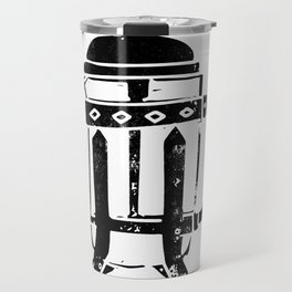 French Press Linocut black and white minimal coffee food printmaking Travel Mug