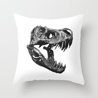 t rex Throw Pillows featuring T Rex by Sascha Selli