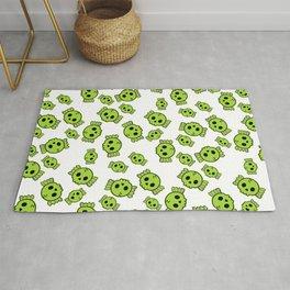 Cute Green Candy Skulls Pattern - Kawaii Goth Rug