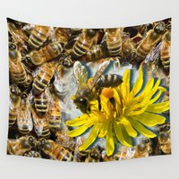 bees Wall Tapestries featuring Bees by Moody Muse