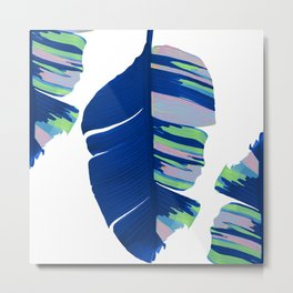 Elegant Bold Blue Tropical Banana Leaves Design Metal Print