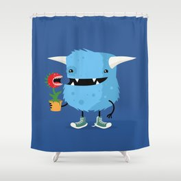 Monster and his pet plant carnivore Shower Curtain