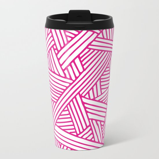 Abstract pink & white Lines and Triangles Pattern-Mix and Match with Simplicity of Life on #Society6 Metal Travel Mug