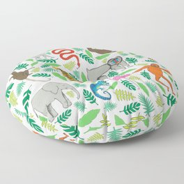 Animals in the Jungle Floor Pillow