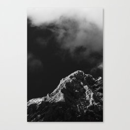 Black and white sun illuminated mountain Canvas Print