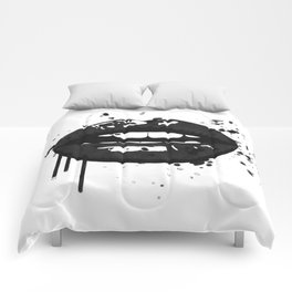 Black and white glamour fashion lips Comforters